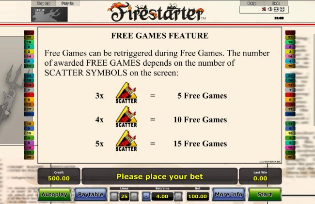 Free games can be re-triggered during Free Games. The number of awarded free games depends on the number of scatter symbols on screen. by Free Slots 247