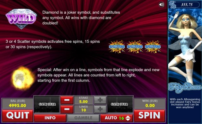 Diamond Wild and Scatter Symbol Rules - Free Slots 247