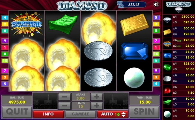 After all wins are paid, winning symbols are exploded and new symbols drop in place giving player another chance at more wins by Free Slots 247