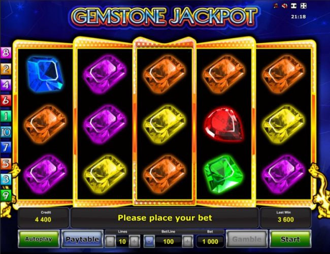 Main game board featuring five reels and 10 paylines with a $500,000 max payout - Free Slots 247