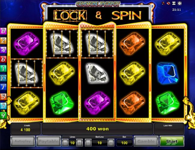 Lock and Spin feature triggers a 400 coin payout. - Free Slots 247
