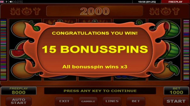 15 free games awarded - Free Slots 247