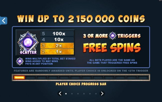 Free Slots 247 - Win up to 2,150,000 coins! Scatter symbol pays. 3 or more scatter symbols trigger Free Spins!