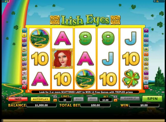main game board featuring 5 reels and 25 paylines - Free Slots 247