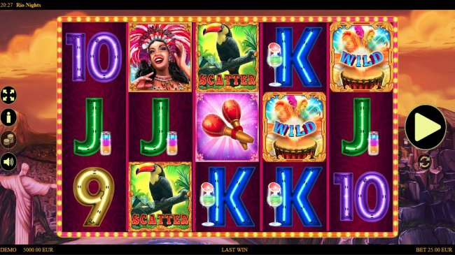 Free Slots 247 - Main game board featuring five reels and 25 paylines with a $600 max payout.
