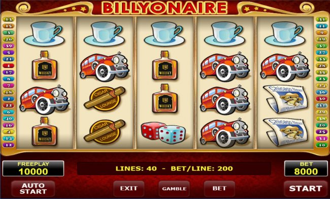 Main game board featuring five reels and 40 paylines with a $2,000,000 max payout. - Free Slots 247