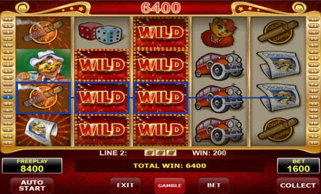 Stacked wild symbols on reels 2 and 3 triggers multiple winning symbol combinations leading to a 6400 coin pay out. by Free Slots 247