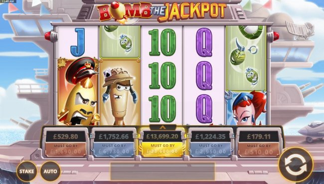 A military aircraft themed main game board featuring five reels and 20 paylines with five progressive jackpots max payout - Free Slots 247
