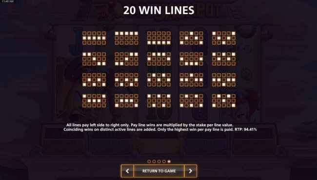 Free Slots 247 - Payline Diagrams 1-20. All lines pay left to right only. Pay line wins are multiplied by the stake per line value. Return to Player for this game is 94.41%.