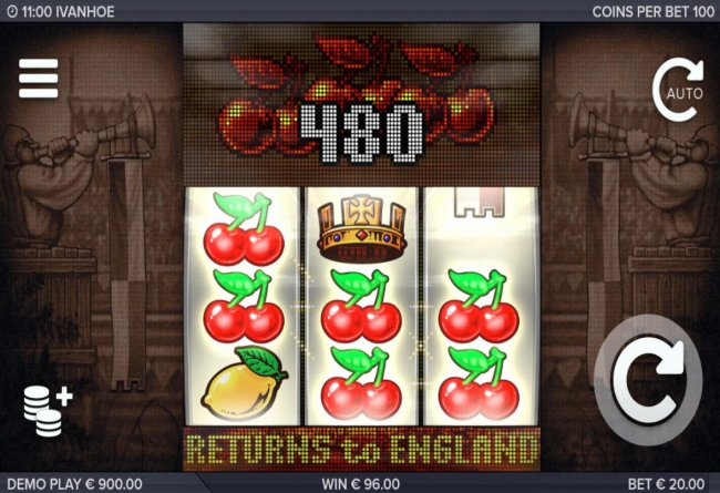 Multiple winning cherry symbols triggers a 480 coin jackpot. by Free Slots 247