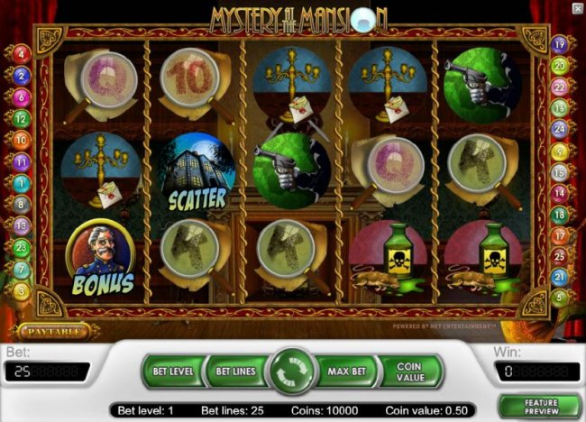 main game board featuring five reels and 25 paylines - Free Slots 247