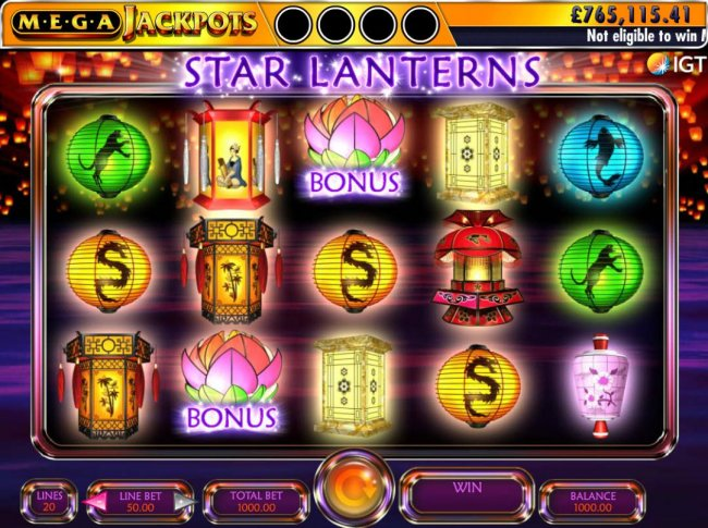 A Chinese festival of lanterns themed main game board featuring five reels and 20 paylines with a $250,000 max payout by Free Slots 247
