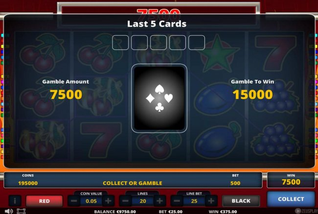 Gamble Feature - To gamble any win press Gamble then select Red or Black. - Casino Bonus Lister
