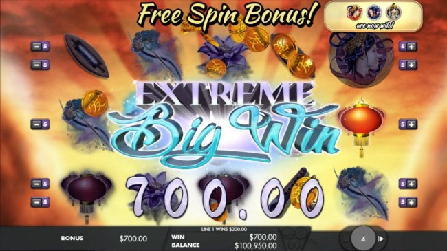 An extreme big win triggered during the free spins feature - Free Slots 247