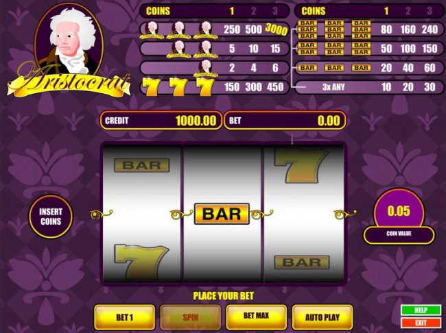 main game board featuring three reels and a single payline. win up to 3000 coins when you bet 3 coins - Free Slots 247