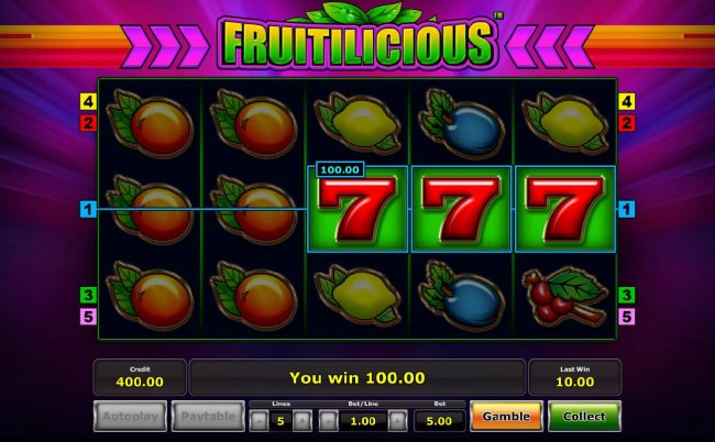 Free Slots 247 - A Three of a Kind triggers a 100.00 jackpot win.