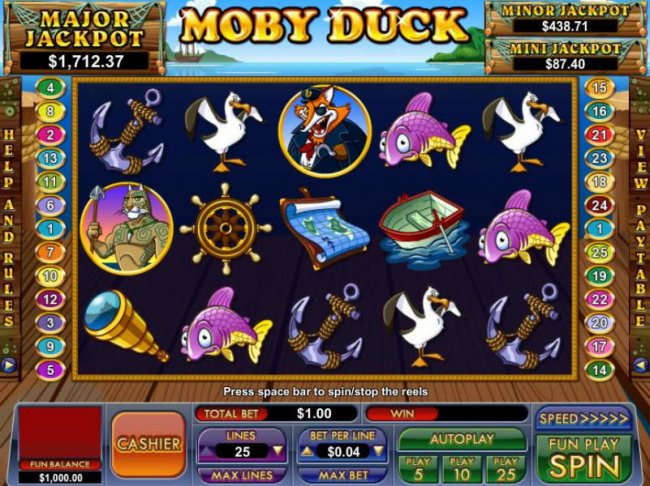 Free Slots 247 - main game board featuring five reels, 25 paylines and three progressive jackpots