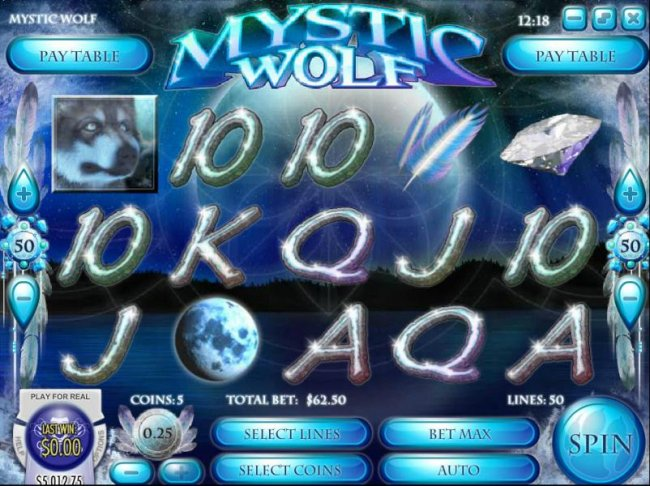 Main game board featuring five reels, 50 paylines and a $62,500 max payout - Free Slots 247
