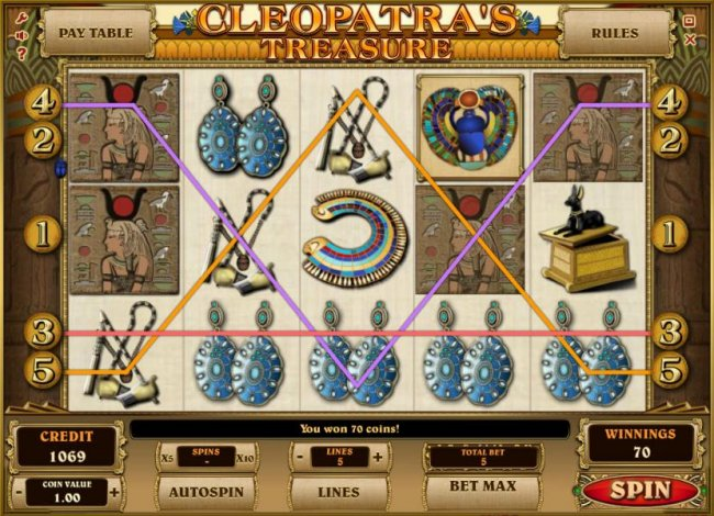 multiple winning paylines triggers a 70 coin jackpot - Free Slots 247