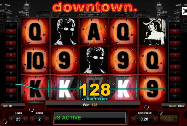 Free Slots 247 - Four of a Kind triggers a 128 coin big win.