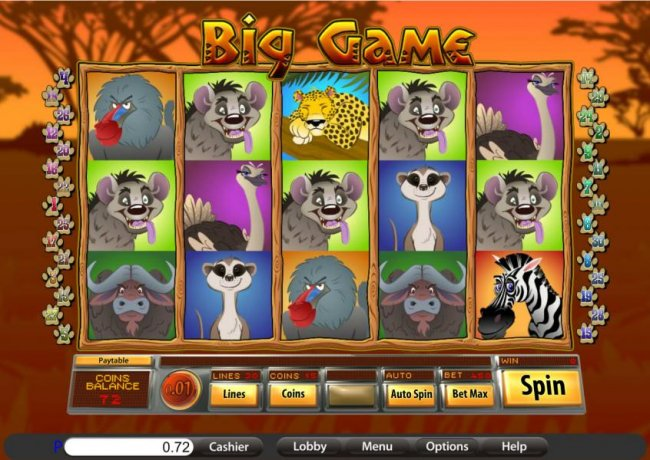 main game board featuring five reels and thirty paylines - Free Slots 247