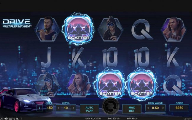 Three scatter symbols activate 10 free spins. by Free Slots 247