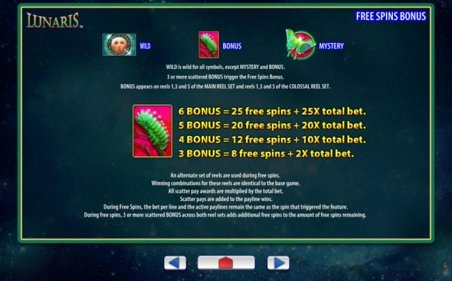Free Slots 247 - Free Spins Feature Paytable