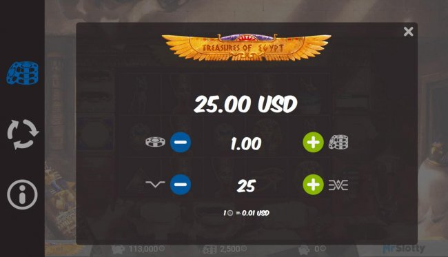 Free Slots 247 - Click on the side menu button to adjust the lines played or coin size.