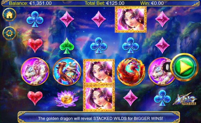 An Asian themed Main game board featuring five reels and 1024 winning combinations with a $12,500 max payout - Free Slots 247