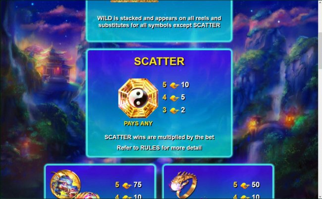 The scatter symbol is represented by the Yin-Yang symbol. Scatter wins are multiplied by the bet. by Free Slots 247