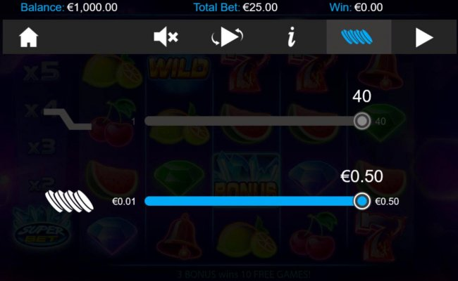Click on the GEAR button to adjust the coin value played. - Free Slots 247