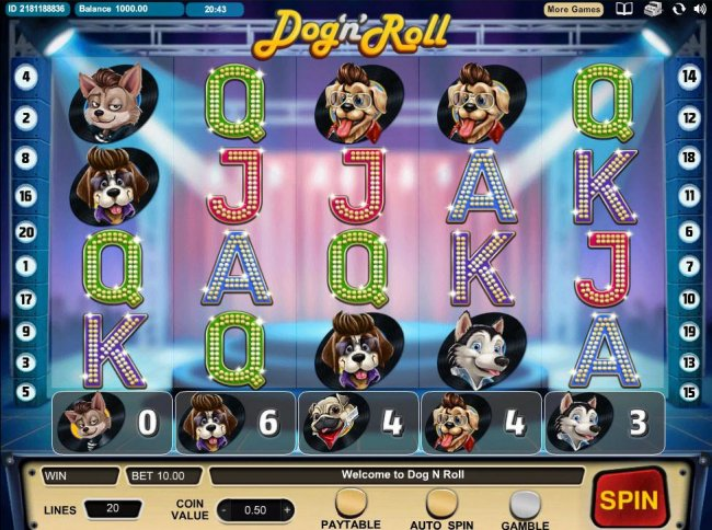 Free Slots 247 - A dog rock band themed main game board featuring five reels and 20 paylines with a $500,000 max payout