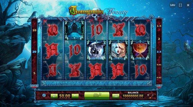 A vampire themed main game board featuring five reels and 20 paylines. by Free Slots 247