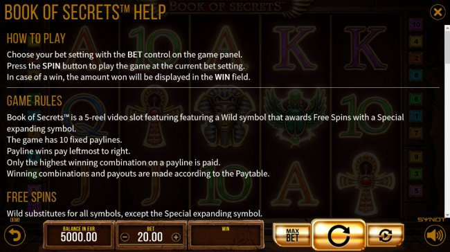 Book of Secrets by Free Slots 247