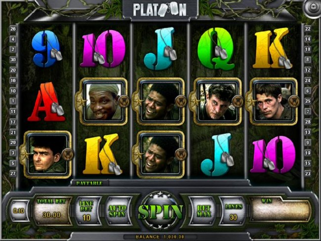 main game board featuring five reels and thirty paylines by Free Slots 247
