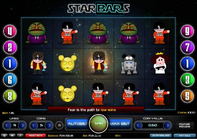 Main game board featuring five reels and 9 paylines with a $2,500 max payout by Free Slots 247