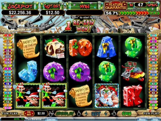 a couple of scatter symbols triggers 1 re-spin awarded - Free Slots 247