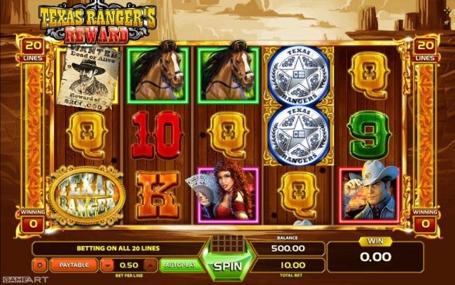 Main game board featuring five reels and 20 paylines with a $1,000 max payout. by Free Slots 247