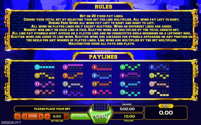 General Game Rules and Payline Diagrams 1-20 by Free Slots 247