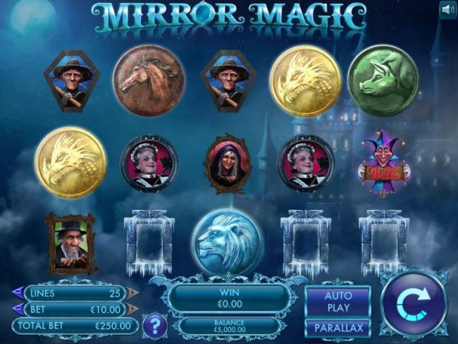 Main game board based upon magical tale of hidden identities, Mirror Magic tells the story of royals from a distant land trapped in a Dickensian life of drudgery. Featuring five reels and 25 paylines with a $20,000 max payout by Free Slots 247