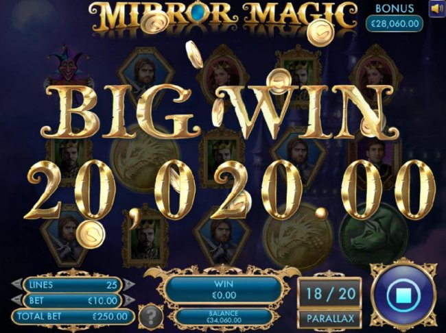 A pair of winning paylines triggers a 20,020.00 super win. - Free Slots 247