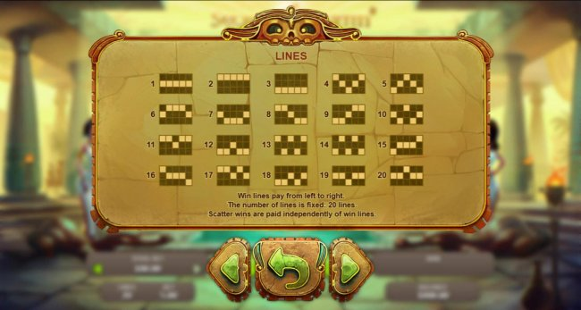 Payline Diagrams 1-20. Win lines pay from left to right. The number of lines is fixed at 20 lines. Scatter wins are paid independently of win lines. - Free Slots 247