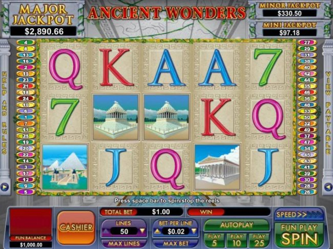 Free Slots 247 - main game board featuring five reels and fifty paylines with three progressive jackpots