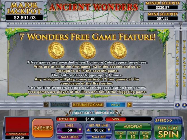 7 wonders free game feature rules by Free Slots 247
