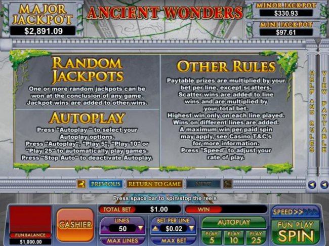 random jackpot rules and general game rules by Free Slots 247
