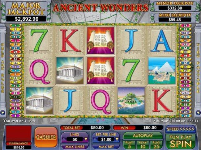 multiple winning paylines triggers a $60 jackpot - Free Slots 247