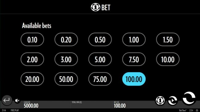 Available bet option. by Free Slots 247