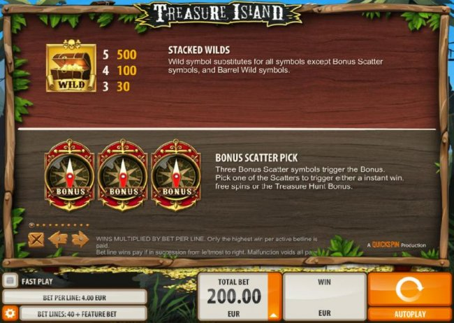 Stacked wilds paytable and bonus scatter pick rules - Free Slots 247