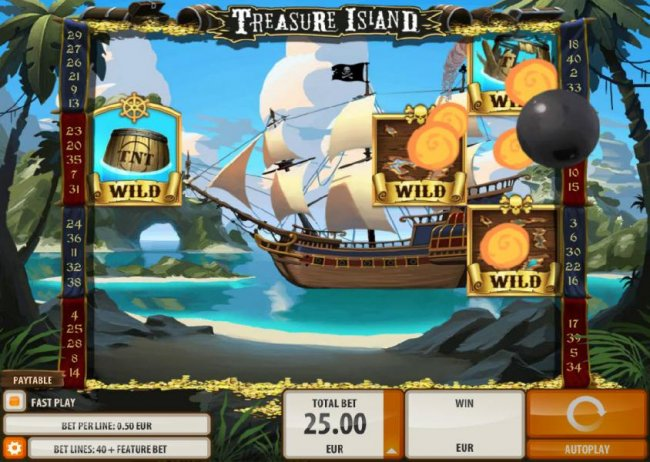 Free Slots 247 - two cannon balls will be fired and trigger randomly wilds on gameboard