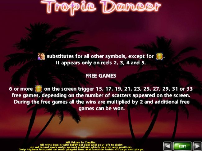 Man with a hat is the games wild symbol and substitutes for all other symbols, except for the disco ball scatter. Wild symbol only appears on reels 2, 3, 4 and 5. 6 or more disco ball scatter symbols on screen trigger 15 to 33 free games. - Free Slots 247